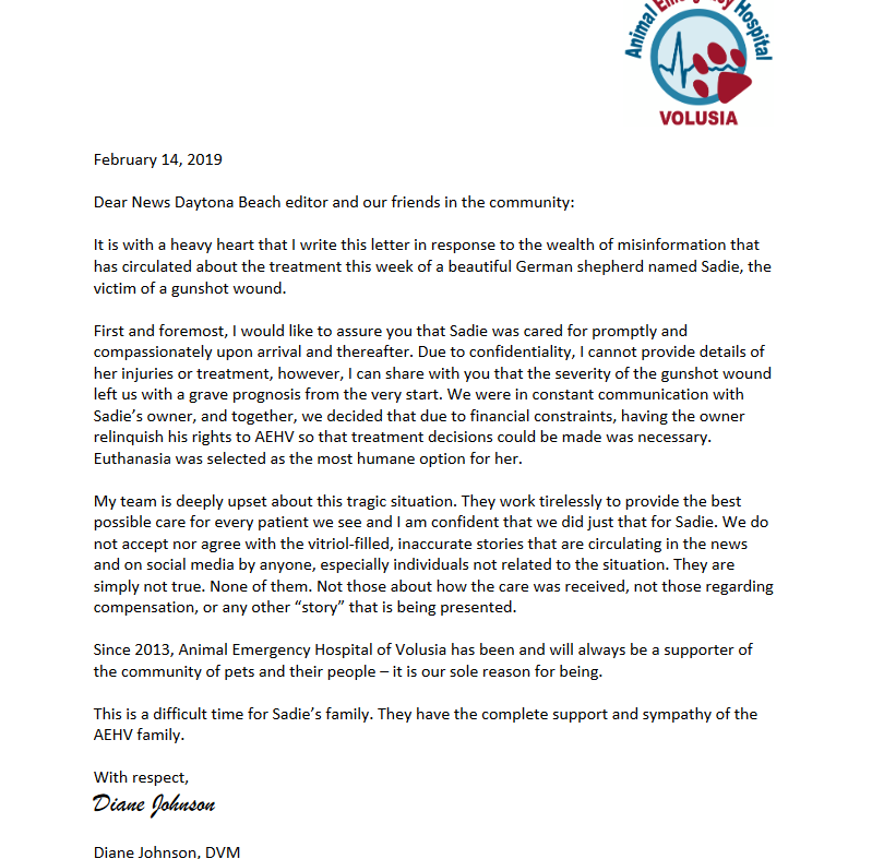 Dr. Johnson's Open Letter To The Community Regarding Sadie